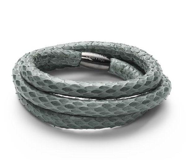 Kranz & Ziegler STORY Armbånd i slangeskind - støvet grøn