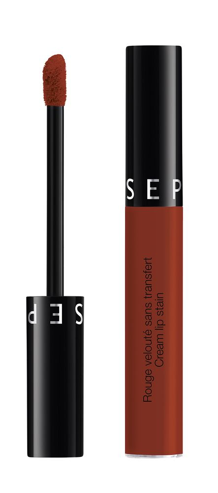 Made in Sephora Cream Lip Stain 25 Coral Sunset - a beautiful rust orange red that looks great on brown skin