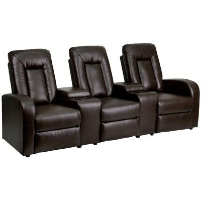 Flash Furniture Leather 3 Seat Home Theater Recliner with Storage Consoles & Reviews | Wayfair
