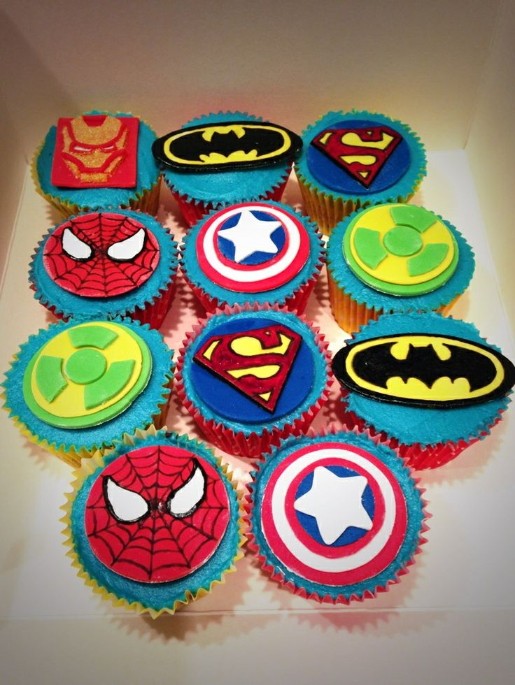 Cupcake Design For Birthday Boy : Superhero cupcakes Cupcakes Pinterest Superhero and ...