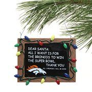 Denver Broncos Chalkboard Sign Ornament