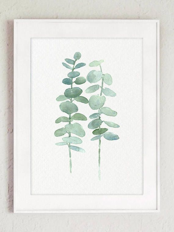 Eucalyptus Print set 2 Botanical Art Prints, Green Leaves Wall Decor, Living Room, Kitchen Botanical Poster, Minimalist Modern Illustration
