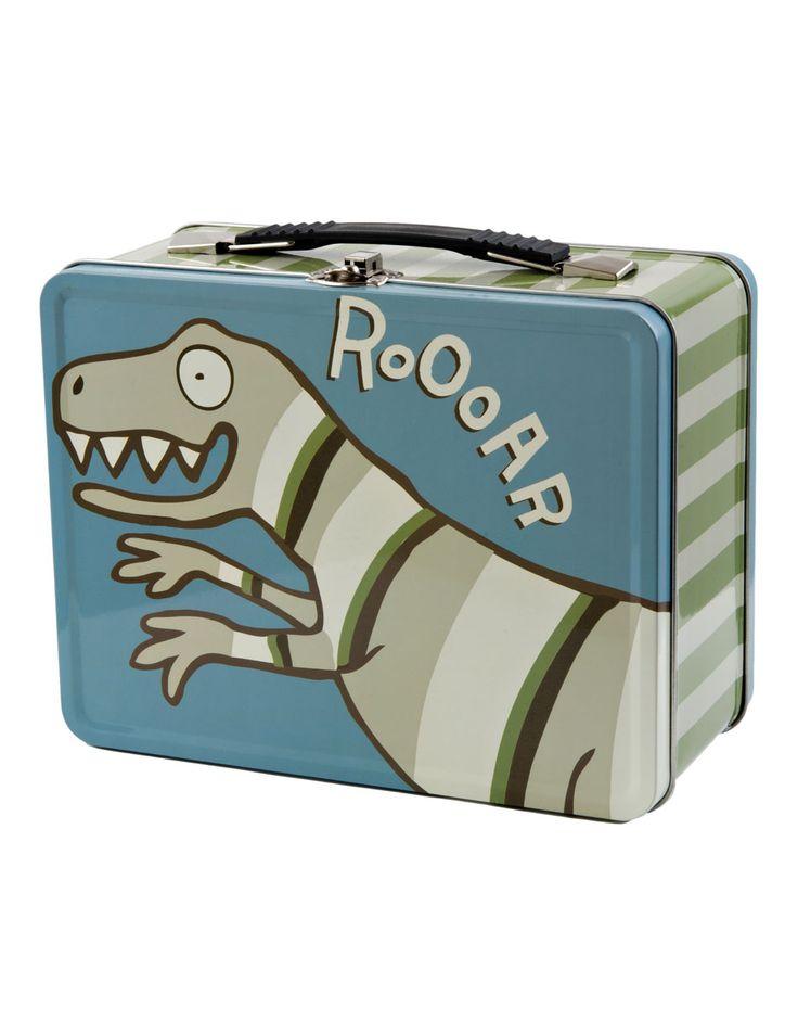 Dinosaur Childrens Kids Tin Lunch Box Little Blue House