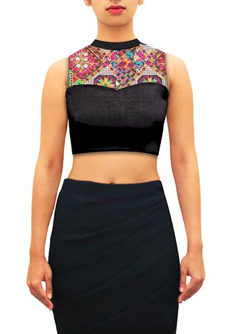 Sheer blouse in black with collar band and yoke in black net with multicolor kutch thread work