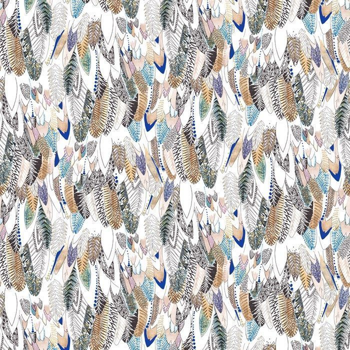 Graham and Brown New Wave Feathers Brown Black Blue Bohemian Wallpaper