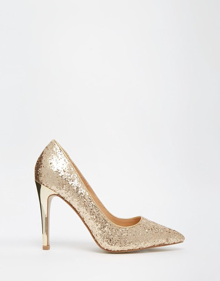 Head Over Heels By Dune Audrine Gold Glitter Heeled Court Shoes