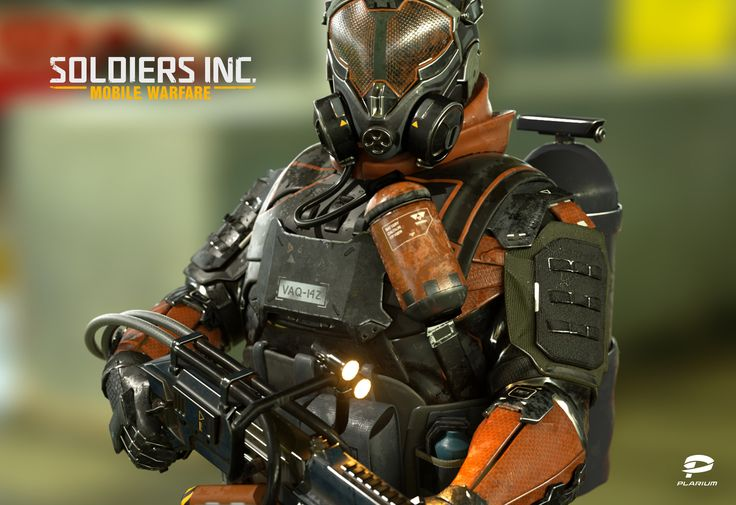 3D character model for Soldiers Inc: Mobile Warfare Created by 3D Art Team Lead Vladimir Silkin https://www.artstation.com/artist/heat3d © Plarium, 2016