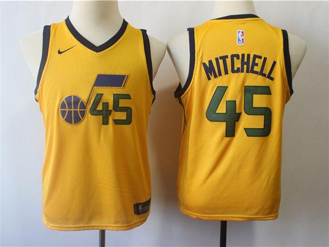 new arrivals a0728 6ba78 Utah Jazz #45 Donovan Mitchell Youth Gold Swingman Jersey ...