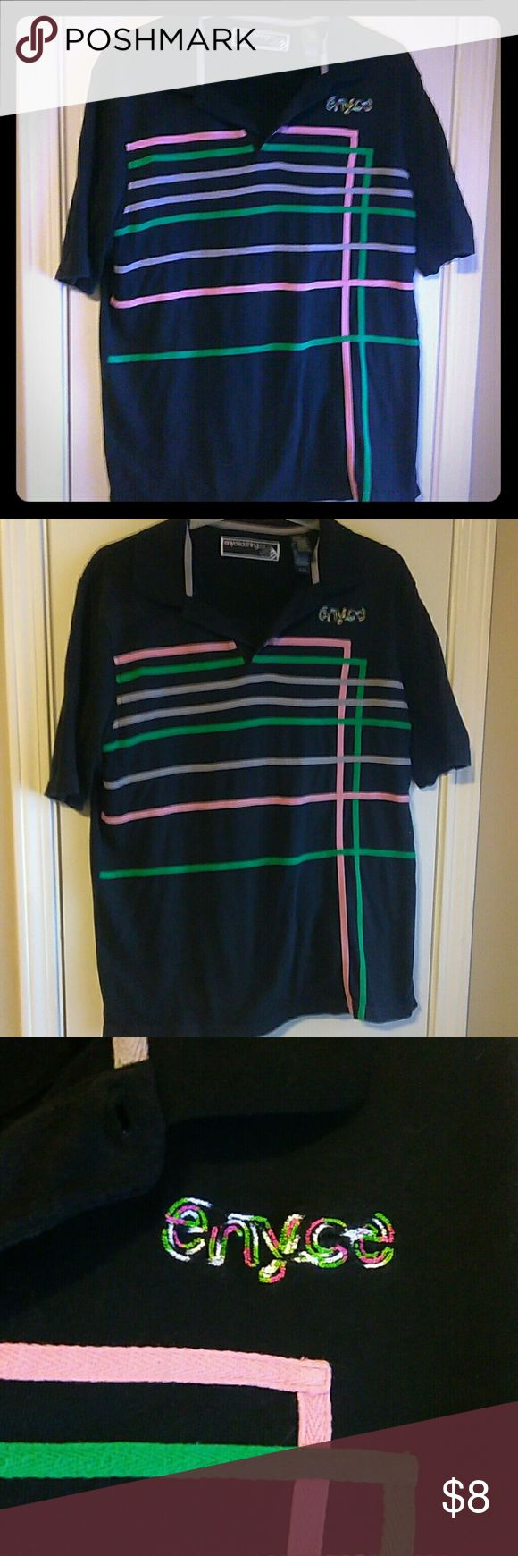 Enyce polo Awesome colors on this authentic enyce collard shirt!!! Pink, green and light purple on a dark Navy blue shirt, size large , condition is gently used no damages. Enyce Shirts Polos
