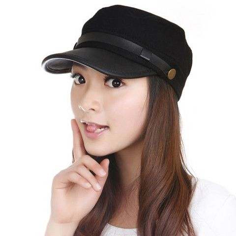 Casual Faux Leather Embellished Military Hat – teeteecee - fashion in style