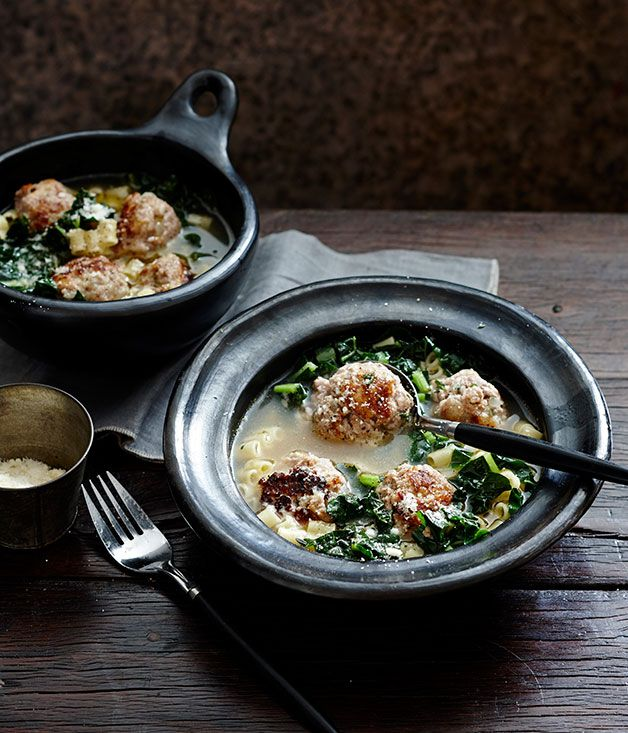 Australian Gourmet Traveller fast recipe for veal and parmesan meatballs in broth with ditalini.