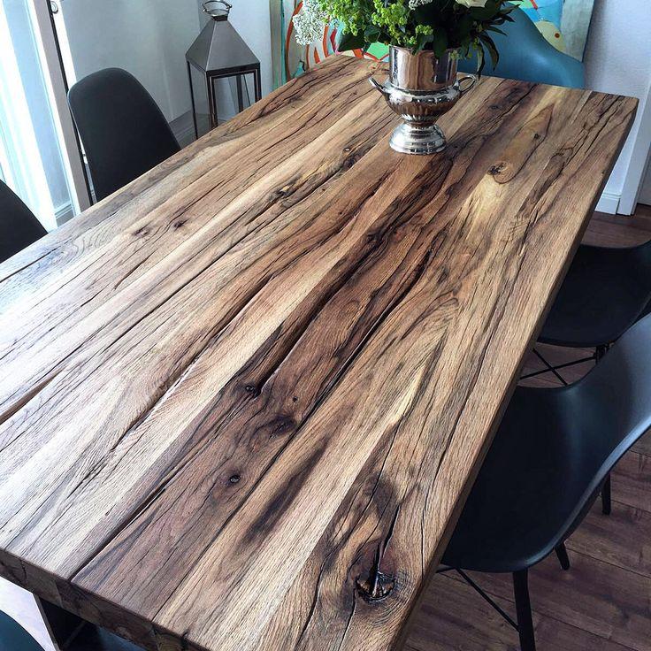 Tischplatte esstisch massivholztisch aus altholz for Esstisch naturholzplatte