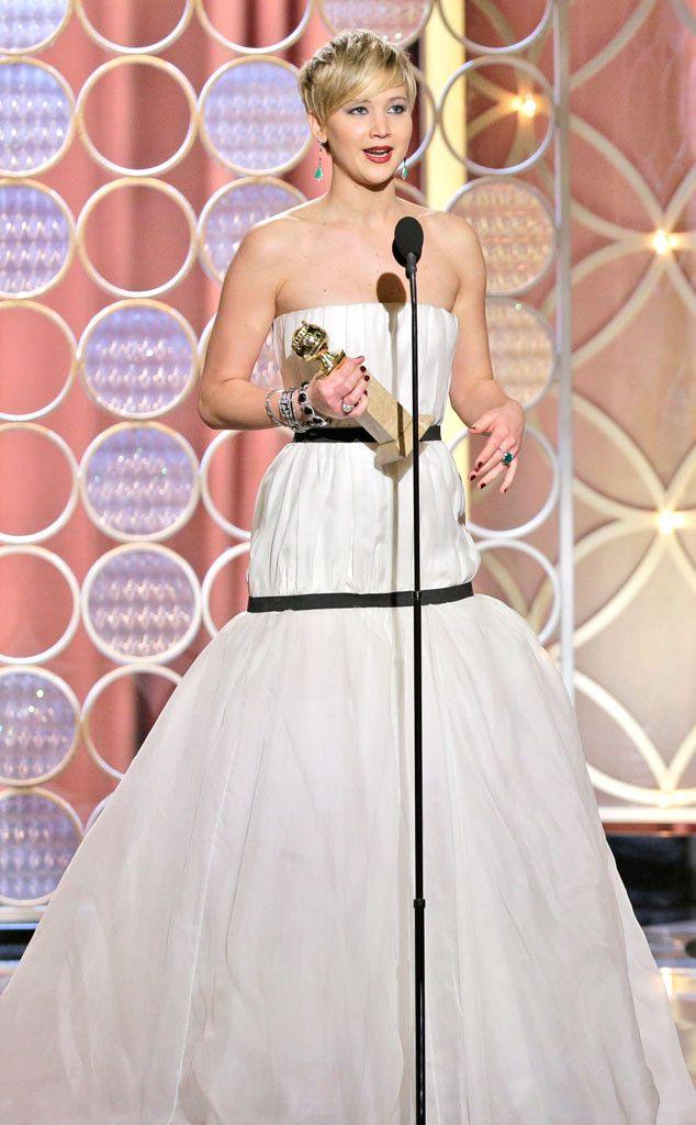 Jennifer Lawrence wins for American Hustle! (Click for the full list of 2014 Golden Globes winners.)