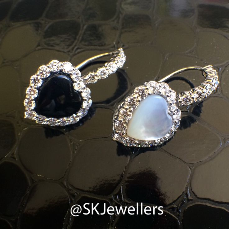 Heart Shaped Onyx And Mother Of Pearl Diamond Earrings Who Says Have To