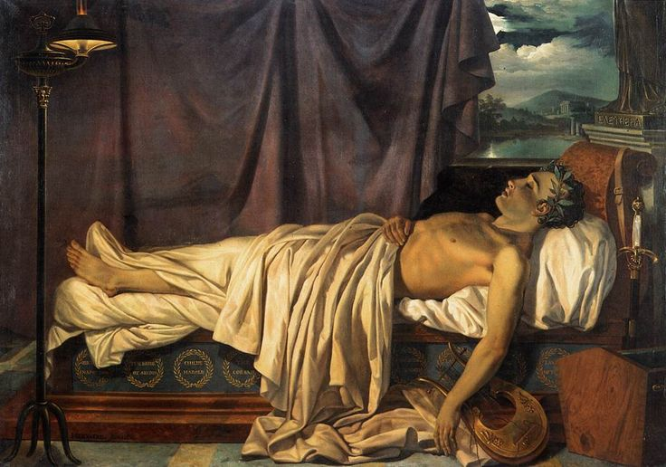 """""""Lord Byron on his Deathbed"""" by Joseph Denis Odevaere"""