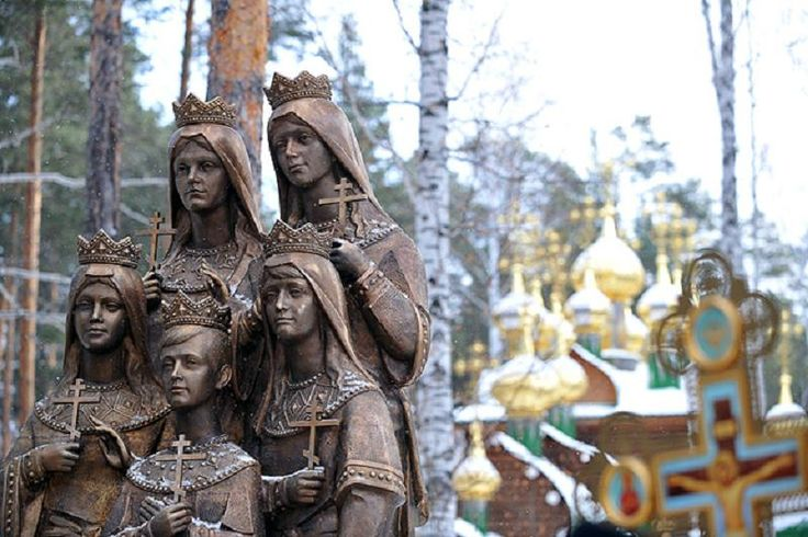 Russia's first monument to the children of Tsar Nicholas II unveiled at the Ganima Yama Monastery near Ekaterinburg in November 2011.