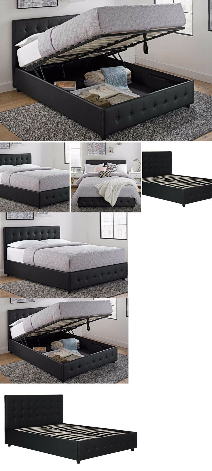 bedding queen size bed frame with shoe storage tufted headboard leather black platform