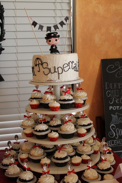 Love this cake from a Mary Poppins birthday party!  See more party ideas at CatchMyParty.com!