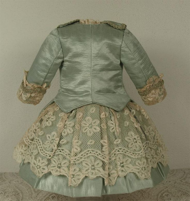 MARVELOUS Antique Aqua Silk Satin French Couturier Costume and Muff for JUMEAU, BRU, STEINER other French Bebe