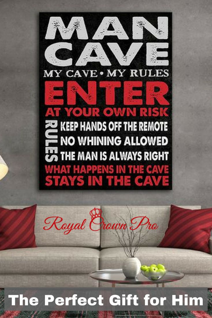 man cave sign framed canvas wall art man cave decor the perfect man rh pinterest com