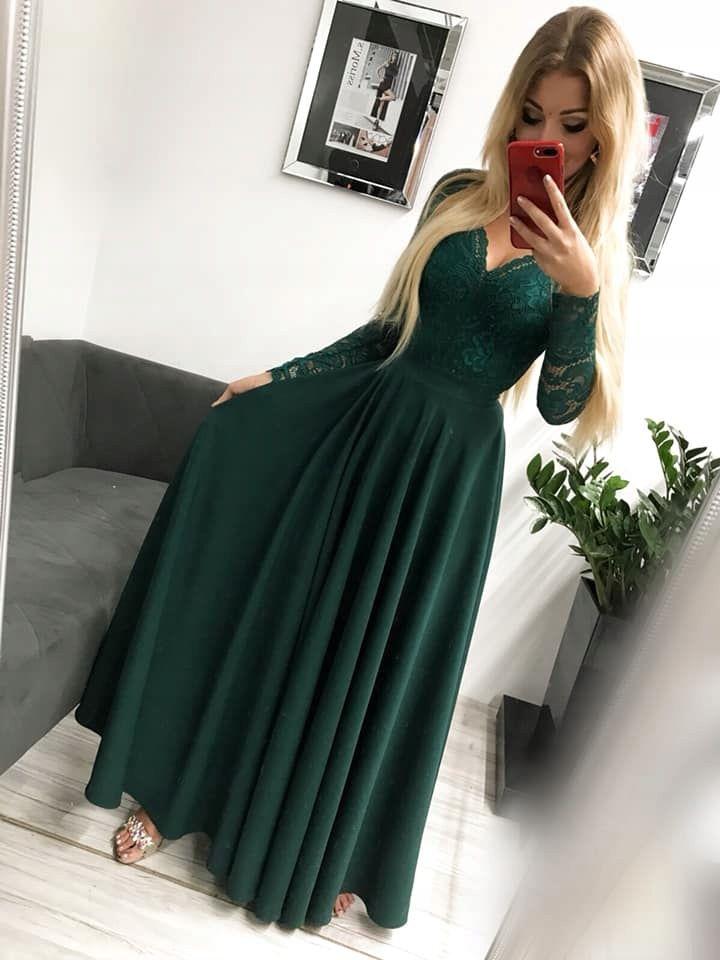 Kira2 Zielona Dluga Sukienka Z Koronkowa Gora M 7638572910 Allegro Pl Wiecej Niz Aukcje Dresses Evening Dresses Beautiful Outfits