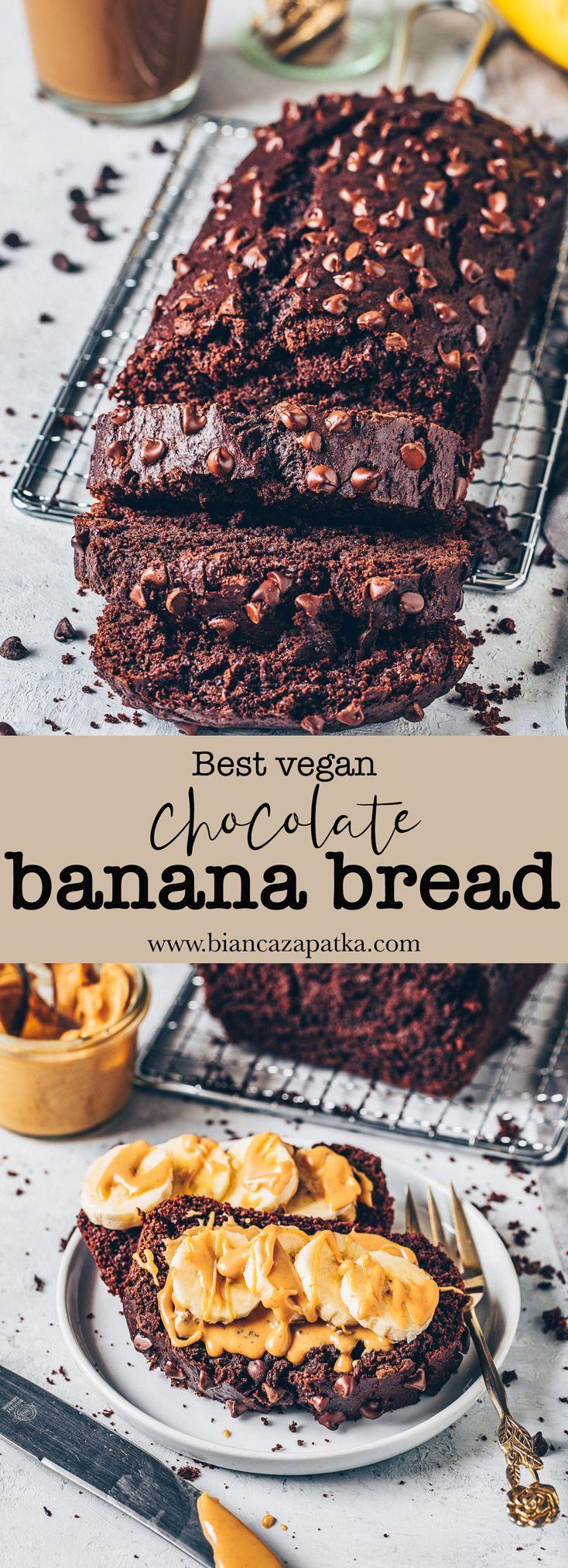 Dieses beste vegane Schoko-Bananen-Brot ist weich, feucht, zart und sehr …   – Vegan Recipes