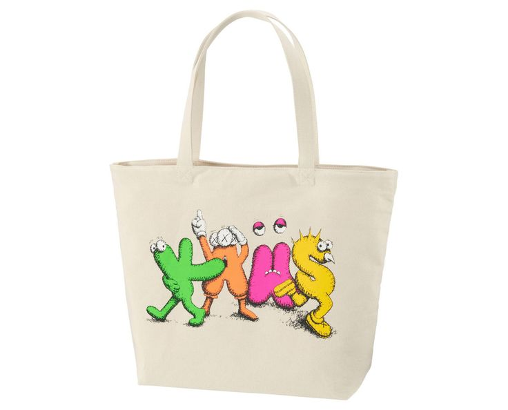 UNIQLO releases a four-piece tote bag collection featuring KAWS' artwork