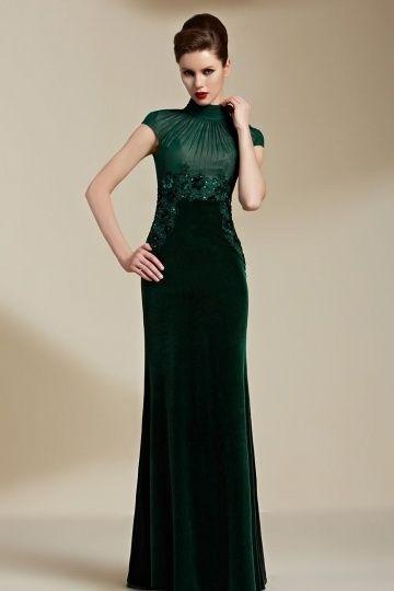 Elegantes grünes langes Abendkleider aus Samt mit Pinsel-Schleppe bei www.persunkleid.de online billig kaufen.