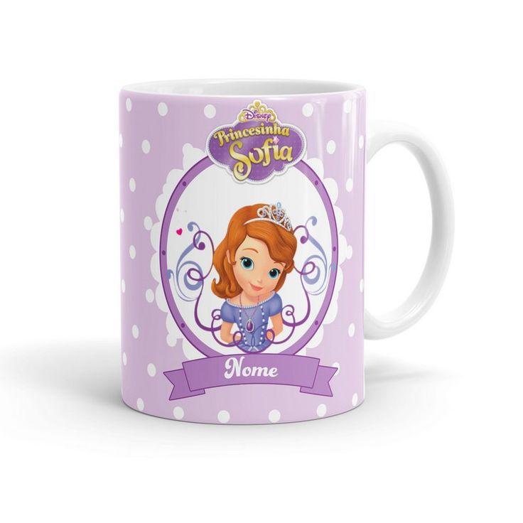 Caneca Porcelana Personalizada Princesinha Sofia Branca
