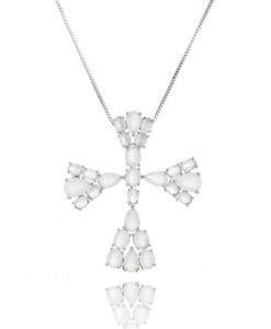 colar crucifixo prata com zirconias brancas leitosas semi joias religiosas da moda