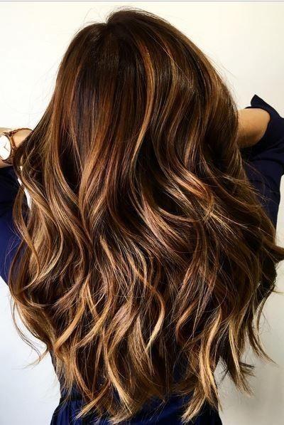 Balayage, Layered Wavy Long Hairstyles - Blonde and Cinnamon Balayage for Chocolate Brown Hair