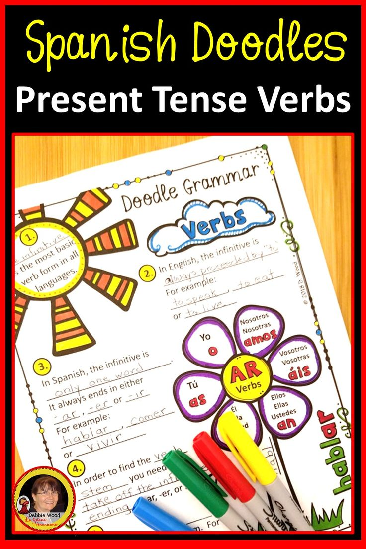 Try These Spanish Present Tense Verb Doodle Grammar Notes And Activity Worksheets To Keep Your Students Focuse Present Tense Verbs Spanish How To Speak Spanish [ 1104 x 736 Pixel ]