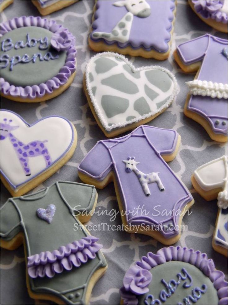 Purple Grey and White Giraffe Baby Shower Cookies
