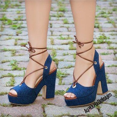 Navas Kot Platform Topuklu Ayakkabı #jean #heels #platform #sandals