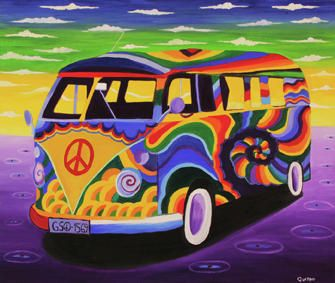 hippies - maybe I'll win the lottery and I'll reproduce this hippie van. Watch for me!