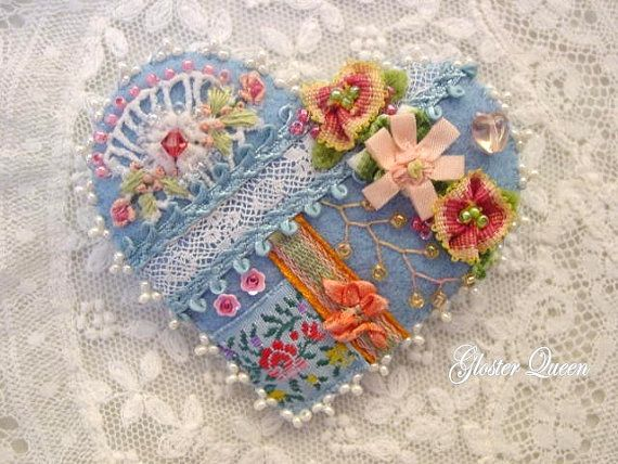 Crazy quilt heart pin with a Victorian look by GlosterQueen, $37.00