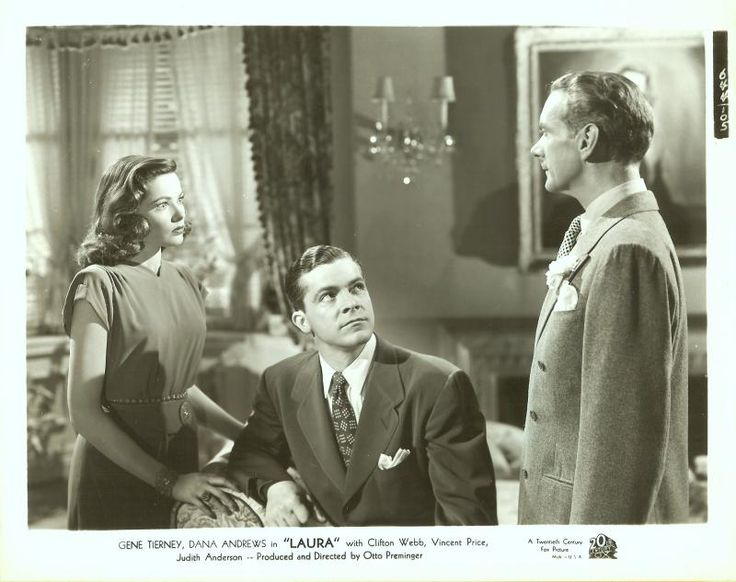 Gene Tierney, Dana Andrews, and Clifton Webb in Laura