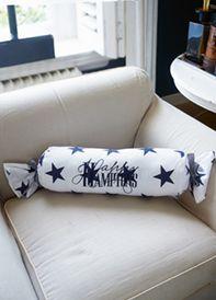 Happy Hampt Roll Pillow blu 60x20