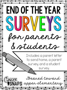 I created these two surveys in hopes of learning how I can become a better educator. Being a reflective teacher is important and making changes can be impactful for students, their parents, and most importantly, your classroom. I have included a parent letter to send home, a parent survey, and a student survey.The student survey is for upper elementary students.If you wish to share this freebie, please link to my blog or TPT shop!If you have any questions, please email me at…