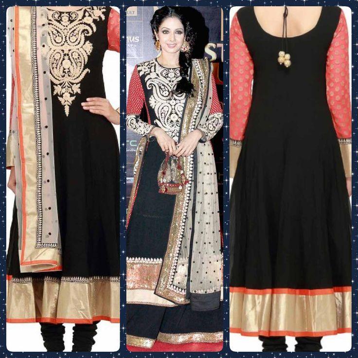 Replica of #sridevi black anarkali suit. To order: WhatsApp at +91 9873433685 or mail us at glammrass@gmail.com  #indianattire#sarees#glammrass#fashion#ethniccouture#bridal#suit#anarkali#exclusive#exquisite#lehengasaree#bride#bollywoodreplica#kurtis#designerwear#indianwear#dresses#gowns#ethnicwear#salwarkameez#georgette#indianwear#salwar#kameez#indiansuit#chanderi