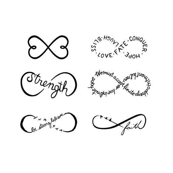 Infinity Symbols Set Temporary Tattoo Set   of 6 by Tattify