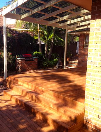 Make your backyard one of your favourite places! This is a Merbau deck with flyover pergola & boxed stairs. Visit: www.lifeoutdoorsdecking.com.au #decking #patio #outdoors #alfresco #thegreatoutdoors #sydney #lifestyle #deck #timber #design #modern #renovate #renovation #homeimprovement #garden #home #outdoorliving #lifeoutdoors
