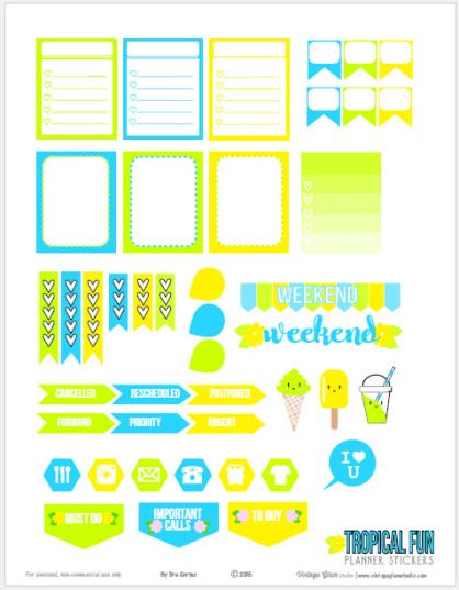 Tropical Fun Planner Stickers | Free printable download, suitable for Erin Condren life planners and other vertical weekly planners.