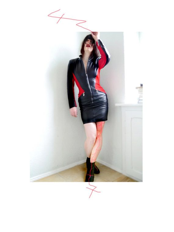Vintage 80s Black Biker Leather Vamp Dress Red by SuitcaseInBerlin, €108.00
