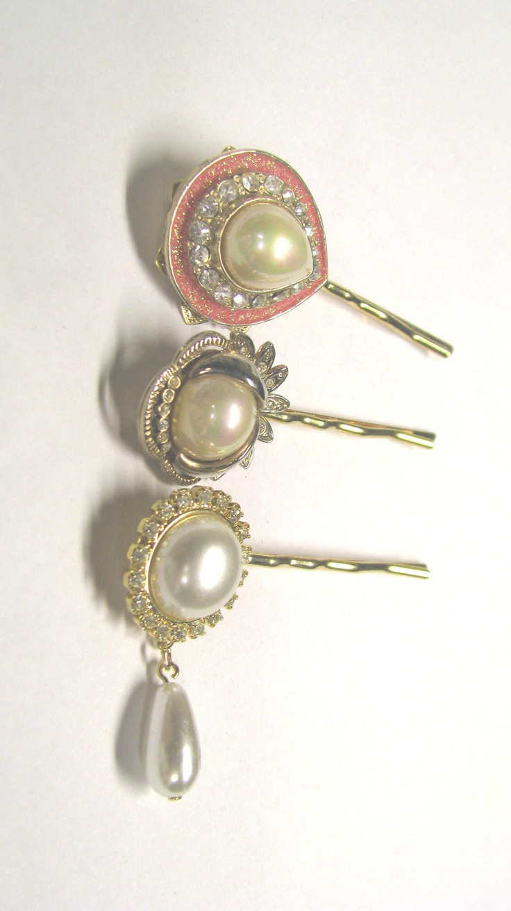 Faux Pearl & Rhinestone Bobby Pins Made with Vintage Repurposed Jewelry in Gold tone, Bridal Hair Accessories. $12.00, via Etsy.