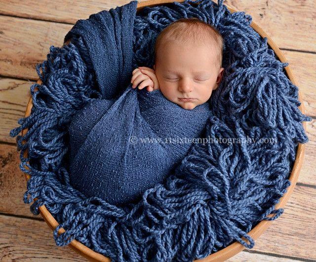 Dark Blue Jean Stretch Knit Newborn Baby Wrap | Beautiful Photo Props
