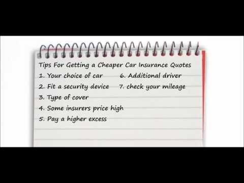 Car insurance - Tips for getting cheaper car insurance quotes - WATCH VIDEO HERE -> http://bestcar.solutions/car-insurance-tips-for-getting-cheaper-car-insurance-quotes     Here are some tips to get cheaper car insurance quotes, 1. Your car of choice, 2. Install a security device, 3. Type of coverage, 4. Some high insurer prices, 5. Pay a higher excess, 6. Additional conductor, 7. Check your mileage, 8. Keep your driver's license clean 9. Telescopic / black...