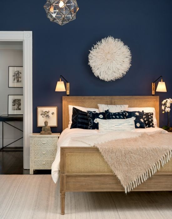 Navy is a fantastic color for a bedroom because it adds beautiful drama.