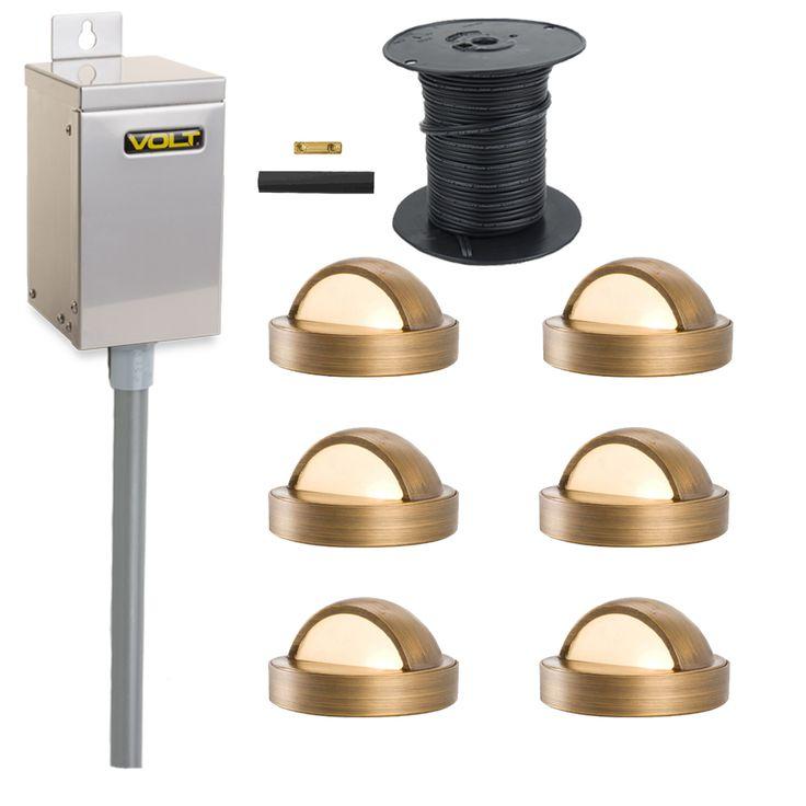 volt brass lifetime led deck light kit 6 deck lights landscape - Volt Landscape Lighting