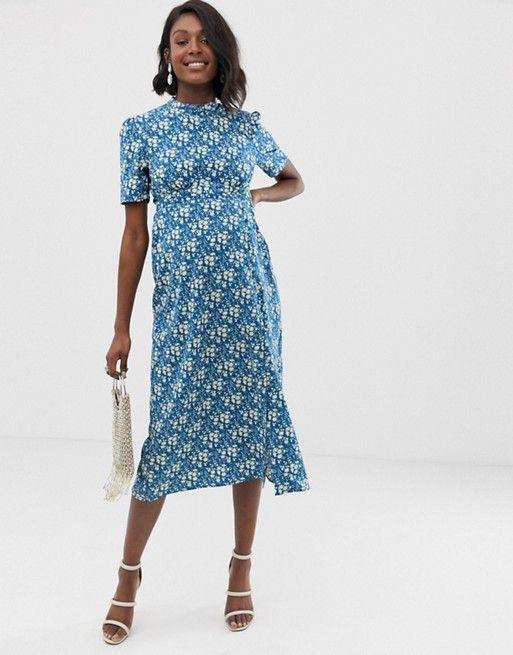 621d648bdf409 ASOS DESIGN Maternity midi tea dress with buttons in floral print   ASOS